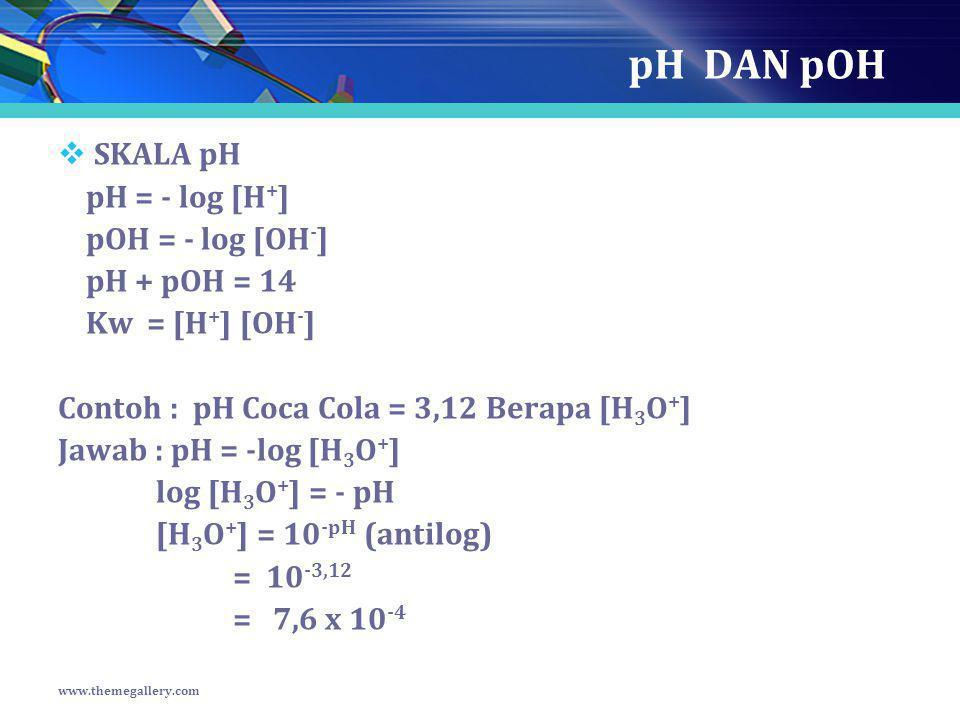 pH DAN pOH SKALA pH pH = - log [H+] pOH = - log [OH-] pH + pOH = 14